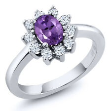 1.15 Ct Oval Purple Amethyst White Topaz 925 Sterling Silver Ring
