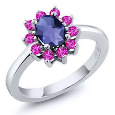 1.15 Ct Oval Checkerboard Blue Iolite Pink Sapphire 925 Sterling Silver Ring