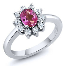 1.35 Ct Oval Pink Mystic Topaz White Topaz 925 Sterling Silver Ring