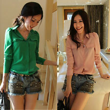 Green&Pink Stand-collar Spring Casual Sheer Long Sleeve Office Blouse Lady Shirt