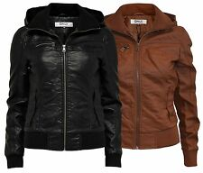 ONLY Damen Lederjacke Jacke ELBOW HOODED JACKET black cognac m Kapuze Kunstleder