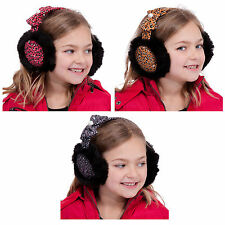 Girls Stylish Warm Winter Leopard Print Ear Muffs With Black Faux Fur & Bow