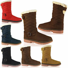 D7 Womens Ladies Flat Ankle Snow Boots Fur Lined Warm Winter Booties Shoes Size