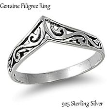 Silver Filigree Design Band Genuine Sterling Ring