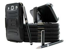 BLACK RUGGED ARMORED HYBRID CASE COVER W/ HOLSTER FOR VARIOUS PHONE + STYLUS