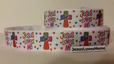 Grosgrain Ribbon, Jesus Loves Me, Cross with Zebra Heart, Tiny Hearts, 7/8""