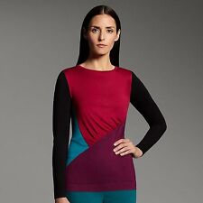 NARCISO RODRIGUEZ for DESIGNATION Womens COLORBLOCK Shirred TOP Black Purple