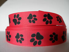 "Grosgrain Ribbon, Black Doggie Paw Prints on Coral Red, 7/8"" Wide"