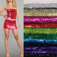 SEXY Women SEQUIN MINI SKIRT or Tube TOP METALLIC WIDE ELASTIC CLUB WEAR PARTY