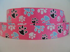 "Grosgrain Ribbon, Multi Colored Doggie Paw Prints on Pink, 7/8"" Wide"