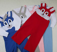 Vintage animal dungarees set RABBIT bib brace trousers top UNUSED boy girl baby