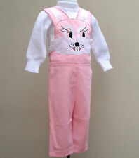 Vintage baby girls clothes RABBIT dungarees set bib brace trousers top UNUSED