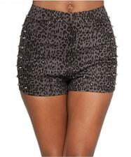 Sexy Grey Leopard Studded High Waisted Stretchy Retro 80's Rockabilly Shorts New