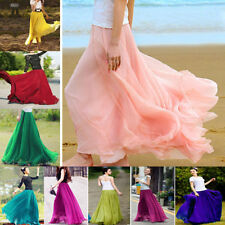 Lady Vintage Casual Beach Chiffon Maxi Dress Elastic Waist Band Skirts Size 6-20