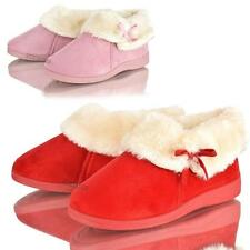 WOMENS LADIES DUNLOP WINTER FAUX FUR COSY WARM SLIPPERS SLIP ON ANKLE BOOTS SIZE