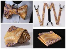 6F01N Orange Purple Paisley Silk Tie Handkerchief Suspenders Self Bow Tie Set