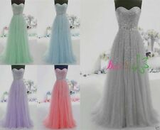 Long Tulle Prom Wedding Bridesmaid Dresses Quinceanera Ball Gowns Formal Dress