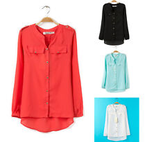 2014 Lady Fashion Chiffon Stand Collar Long Sleeve T-Shirt Tops Blouse Size 6-24