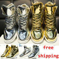 Women High Top Shiny Lace-up Sneaker Shoe Hidden Wedge Heel Casual Loafer Boots