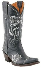 Lucchese M5701 Womens Black Leather Western Cowboy Boots With Rose Stitch