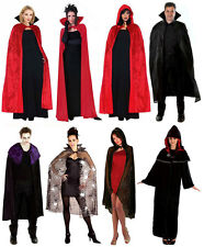 Mens Ladies Long Cape Cloak Medieval Vampire Fancy Dress Halloween Costume NEW