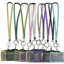 #QZO Horizontal Resin Rhinestone Crystal Work Card ID Case Holder Lanyard Sling