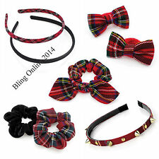 RED TARTAN HAIR ACCESSORIES SPIKED HEADBAND SCRUNCHIE PONIO HEAD BAND RETRO PUNK