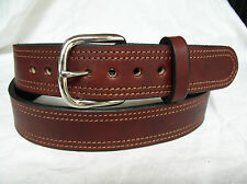 "Belt Cordovan Plain 2 Ply Lined 1.5"" Heavy Duty Double Stitch Leather Gun Carry"