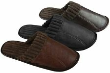 Quality Mens Faux Leather Slip on Mule Slippers  6 sizes 3 colour FREE fast post