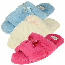Ladies Slip on Mule Slippers Pretty Colours - Fluffy Fabric Womens