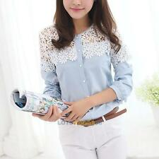 New Women Sexy Lace Shirt Splicing Floral Long Sleeve Blouse Tops Chiffon   LS4G
