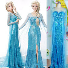Frozen Princess Elsa Queen women Dress Cosplay Maxi Long Handmade Fancy Dresses