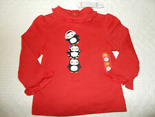 GYMBOREE WINTER PENGUIN RED RUFFLE 3 PENGUIN TOP 12-18 NWT