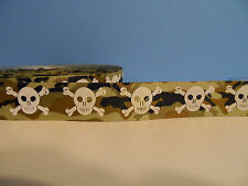 Grosgrain Ribbon, White Scull & Crossbones on Green & Brown Army Camo, 7/8""