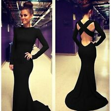 Sexy Women Long Sleeve Prom Ball Cocktail Party Dress Formal Evening Gown black