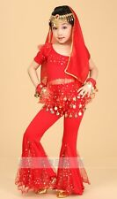 Kids Girls Belly Dance Costume Bollywood Halloween Indian Dance Outfit Top Pants