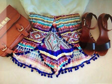 Vintage Women Summer Casual Beach Boho Shorts High Waist Tassel Short Hot Pants