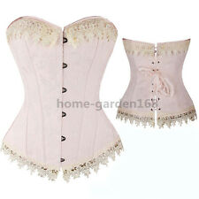 Sexy Ivory Creamy Victorian Lace up Back Boned Overbust Corset Bustier Top S-6XL
