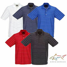 GREG NORMAN GOLF PROTEK MICRO PIQUE STRIPE POLO SHIRT