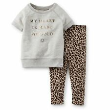 New Carter's Gold Heart French Terry Top & Animal Print Legging Set NWT 2T 3T 4T