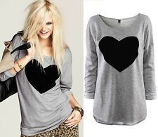 Women Round Neck Love Heart Printed Long Sleeve T-shirt Tops Blouse Cotton,Gray