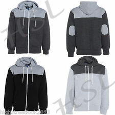 ADULTS MENS QUILTED BLACK HOODIE HOODED JUMPER TOP JACKET WITH ELBOW PATCHES