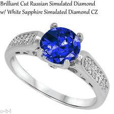 Brilliant Cut Blue Sapphire CZ Wedding Engagement Genuine Sterling Silver Ring