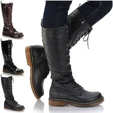 New Ladies Classic Retro Style 16 Eyelet Knee High Biker Punk Grunge Zip Boots
