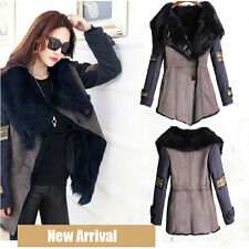 New Women's Navy Blue Street Lapel Fur Collar Duct Coat Overcoat Parka Outerwear