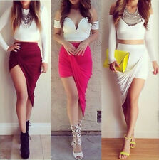 New ! Popular Trends High Waisted  Draped Asymmetric Stretch Low Mini Maxi Skirt