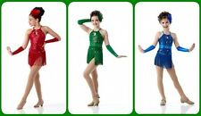 ANYTHING GOES Red Fringed Leotard Tap CHRISTMAS Dance Costume Child & Adult Sz