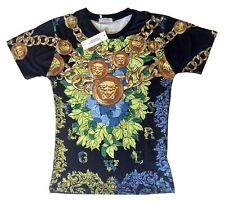 Brand New Authentic Flowers Baroque Versace T-Shirt Gold Medusa Head M,L,XL,XXL