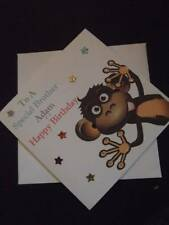 Handmade Personalised Boys Little Monkey Birthday Card Brother Son Nephew Age