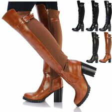 Ladies Womens Flat Chunky Over The Knee Thigh High Riding Biker Stretch Boots